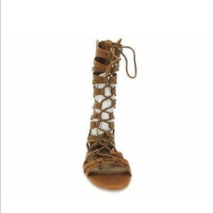 Tan Lace up gladiator sandals